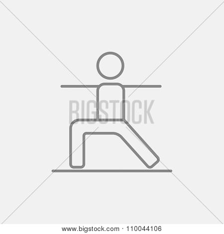 Man in the virabhadrasana II pose line icon for web, mobile and infographics. Vector dark grey icon isolated on light grey background.
