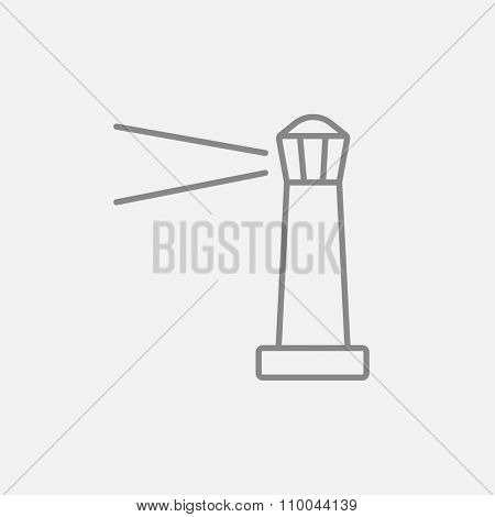 Lighthouse line icon for web, mobile and infographics. Vector dark grey icon isolated on light grey background.