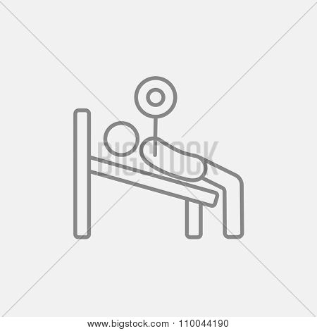 Man lying on bench and lifting barbell line icon for web, mobile and infographics. Vector dark grey icon isolated on light grey background.