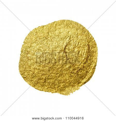 Gold paint circle smear. Abstract gold glittering textured art illustration.