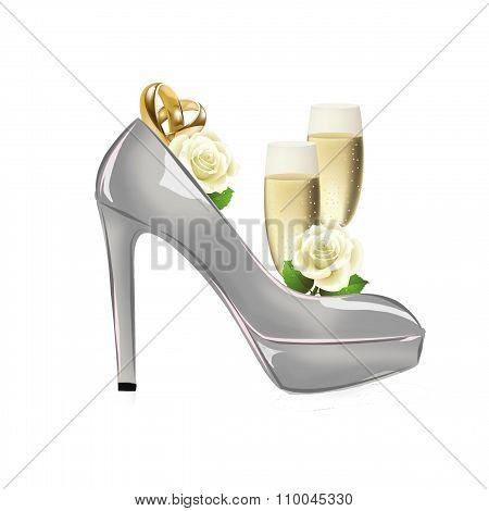 fashion background illustration - raster illustration - wedding shoes with wedding bands