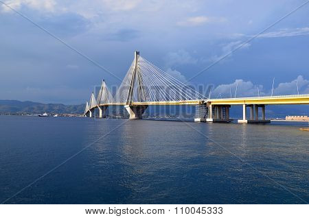 Big Sea Bridge Rion Antirion Greece Patras Photo