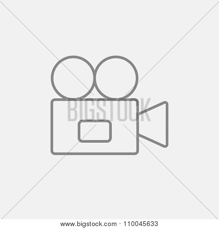 Video camera line icon for web, mobile and infographics. Vector dark grey icon isolated on light grey background.