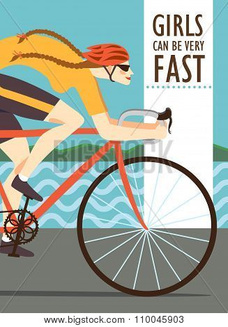 Fast Woman Racing Cyclist Poster