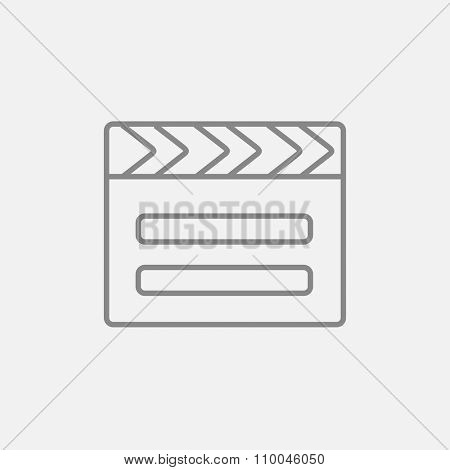 Clapboard line icon for web, mobile and infographics. Vector dark grey icon isolated on light grey background.