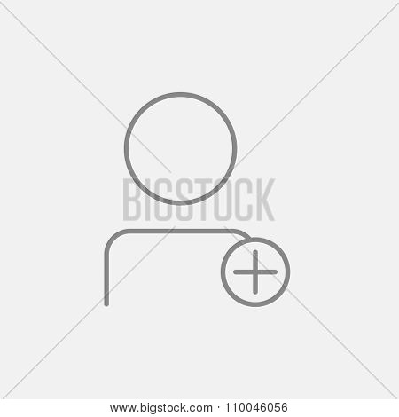 User profile with plus sign line icon for web, mobile and infographics. Vector dark grey icon isolated on light grey background.