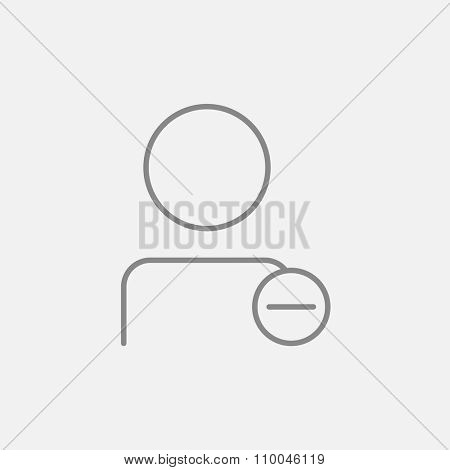 User profile with minus sign line icon for web, mobile and infographics. Vector dark grey icon isolated on light grey background.
