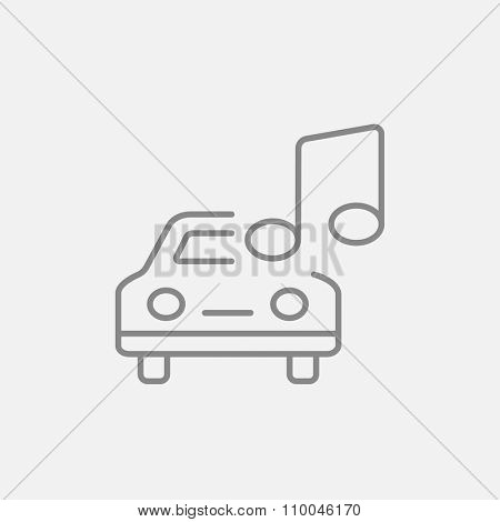 Car with music note line icon for web, mobile and infographics. Vector dark grey icon isolated on light grey background.
