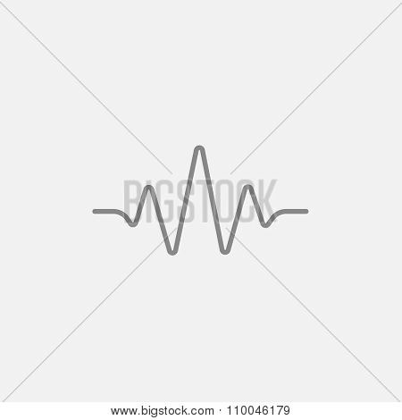 Sound wave line icon for web, mobile and infographics. Vector dark grey icon isolated on light grey background.