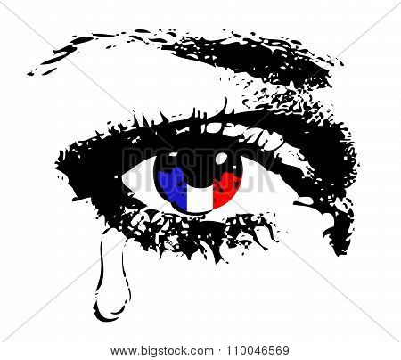 Crying eye with flag of France eps 8