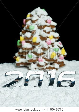 Number 2016 And Gingerbread Christmas Tree