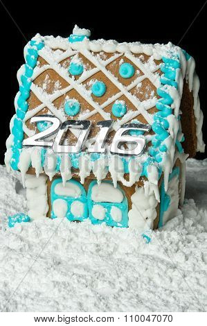 Gingerbread House With Number 2016 On The Roof