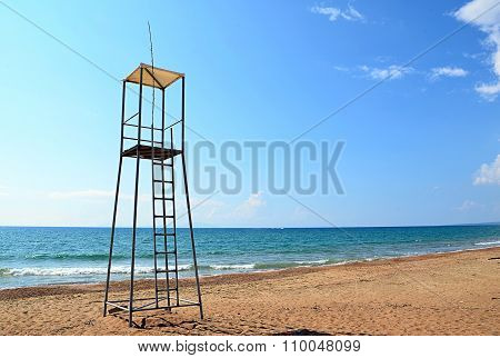 Lifeguard Tower On The Beach Near To Sea