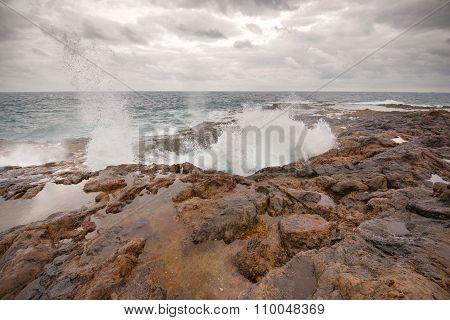 Blowhole Bufadero de la Garita in Telde Gran Canaria Canary island Spain.