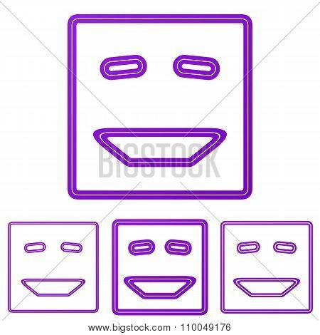Purple line laugh logo design set