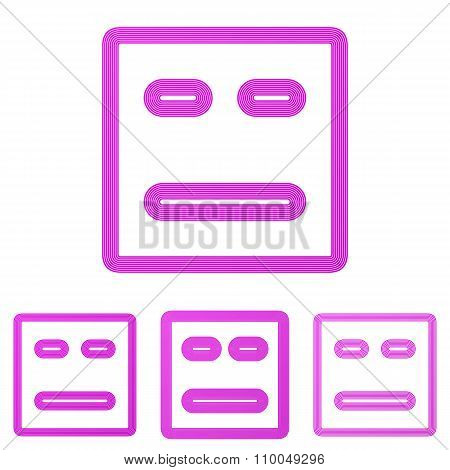 Magenta line face logo design set