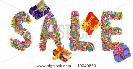 Word Sale Formed Of Colorful Confetti With Gift Boxes.