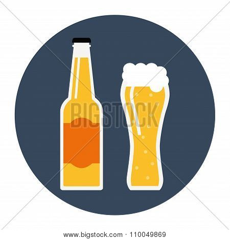 Beer bottle icon on white background.