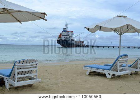 Oil Tanker Transport Ship  Pier Picnic Center Beach Corn Island, Nicaragua, Central America