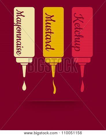 Ketchup mayonnaise and mustard