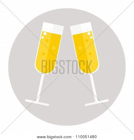 Champagne glasses icon on white background.