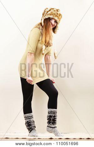 Woman Wearing Warm Clothes Fur Cap Socks