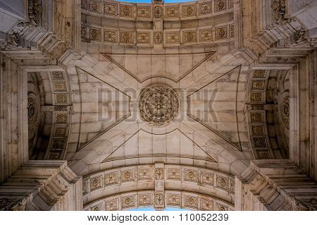 View of the interior roof of the Triumphal Arch in Lisbon, Portugal