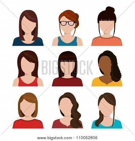 Young people avatar silhouette