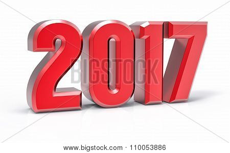 3D Isolated Red 2017 Year