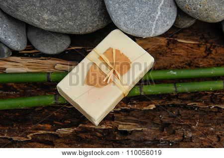 nature driftwood wood and bamboo grove, soap with stone