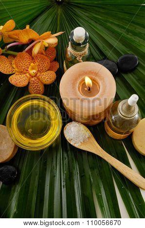 Spa set on palm leaf