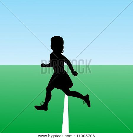 Hand Drawn Child Silhouette Running. New Start Concept.