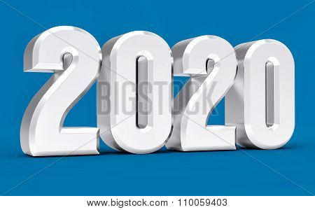 3D Isolated Blue 2020 Year