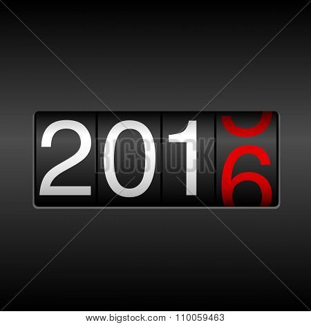 2016 New Year Odometer - Black and Red