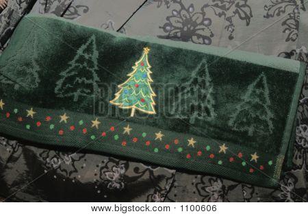Christmas Tree Hand Towel Close-Up