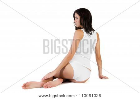 Young Beautiful Woman In Cotton Underwear On White Background