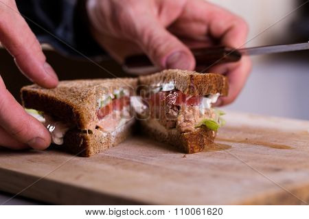 Cooking Fresh Homemade Grilled Tuna Sandwich On Wood