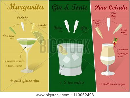 Cocktail Recipes, Vector