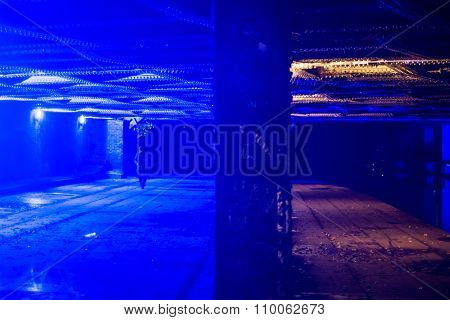 Bridge in Camden with blue light to put off drug users