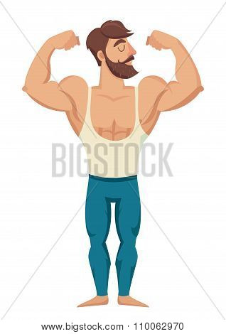 Sexy bearded muscular man in jeans.