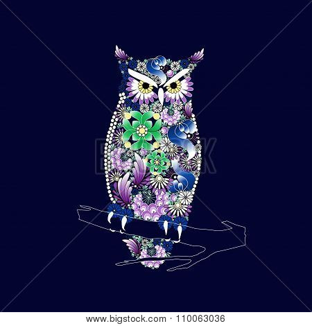 Owl. Vector In Ukrainian Traditional Painting