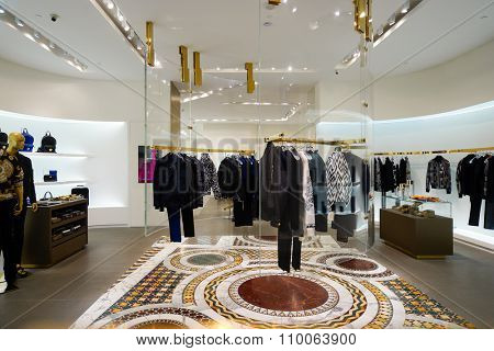 SINGAPORE - NOVEMBER 08, 2015: interior of Versace store. Versace, is an Italian fashion company and trade name founded by Gianni Versace in 1978