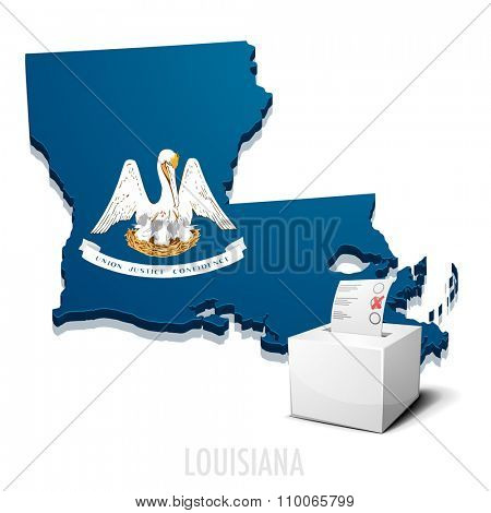 detailed illustration of a ballotbox in front of a map of Louisiana, eps10 vector