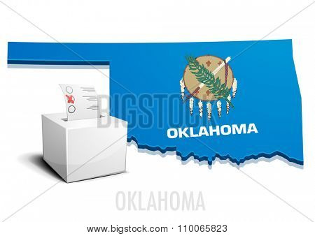detailed illustration of a ballotbox in front of a map of Oklahoma, eps10 vector