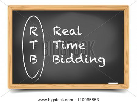 detailed illustration of a blackboard with Real Time Bidding term explanation, eps10 vector, gradient mesh included