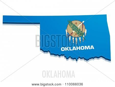 detailed illustration of a map of Oklahoma with flag, eps10 vector