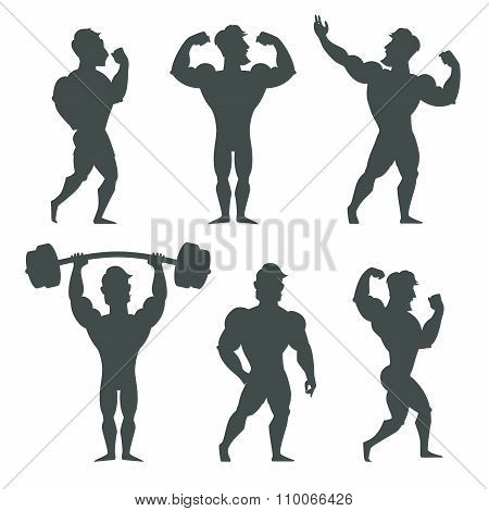Set of muscular bodybuilder man silhouettes vector illustration