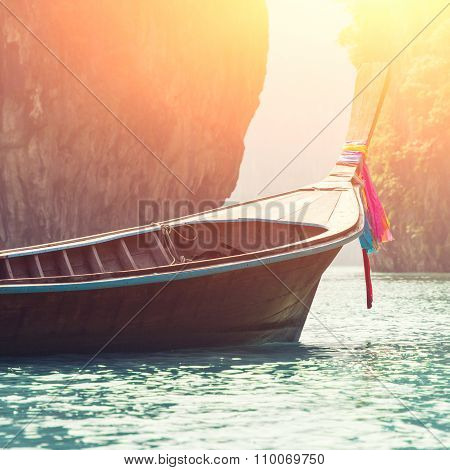 long boat on beautiful island in Thailand ** Note: Visible grain at 100%, best at smaller sizes