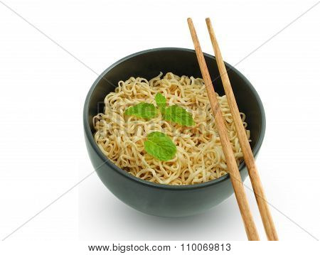 Noodle In The Bowl With Chopstick