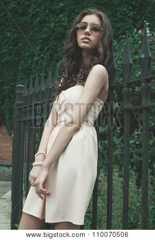 Beautiful brunette young woman wearing dress and walking on the street, Saint Petersburg, Russia
